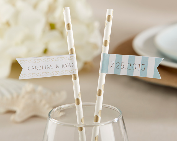 Personalized Party Straw Flags: Beach