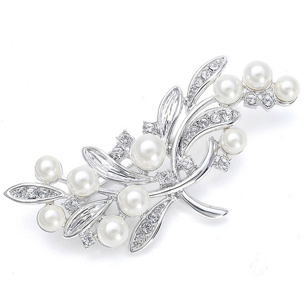 Mariell Pearl Bridal Brooch with CZ Leaves