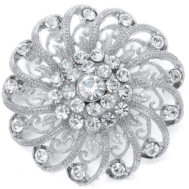 Mariell Crystal Pin with Filigree Spirals