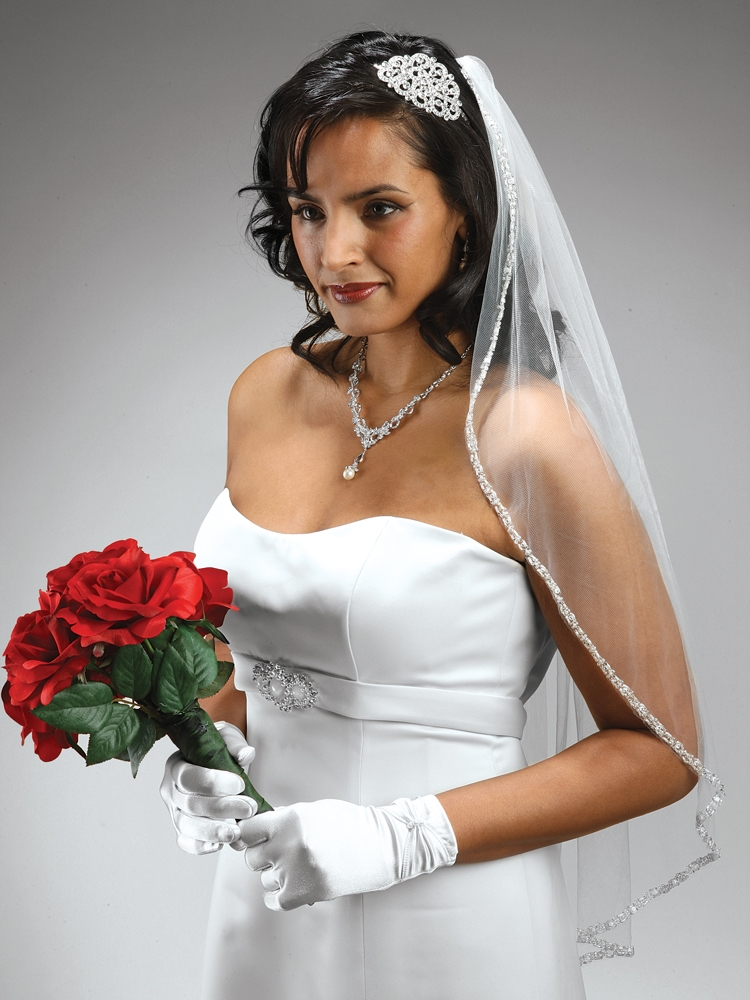 Mariell Rhinestone Edge Wedding Veil with Pearls & Beads: White