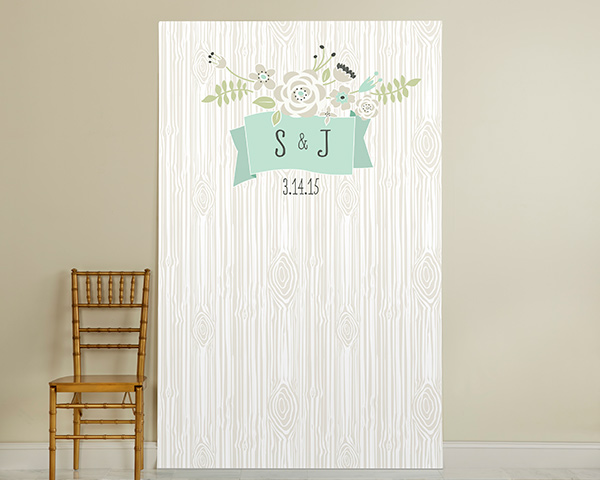 Personalized Photo Booth Backdrop, Kate's Rustic Wedding Collection: Woodgrain