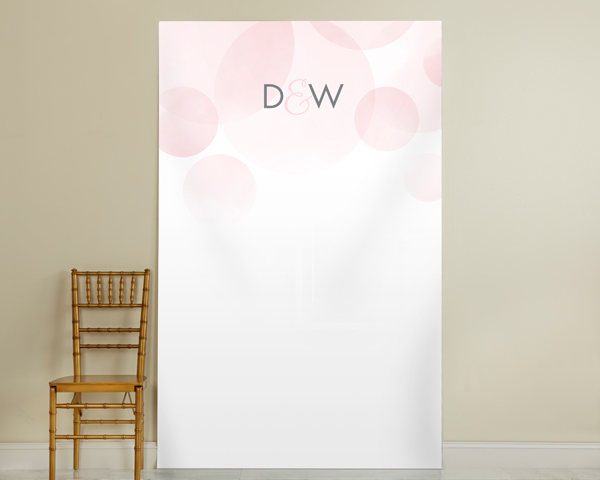 Personalized Pink Watercolor Photo Backdrop: Circles