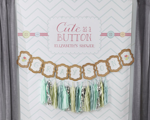 Kate's, Cute as a Button, Chevron Personalized Photo Backdrop