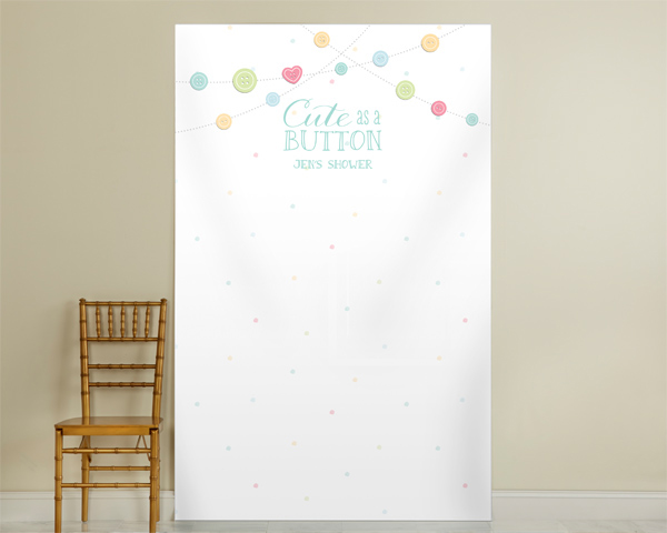 Kate's, Cute as a Button, Garland Personalized Photo Backdrop