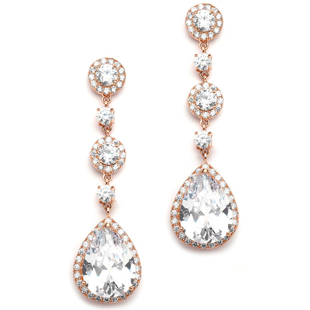 Mariell Best-Selling Rose Gold Bridal Earrings with Pear Shaped CZ Drop : Clip On