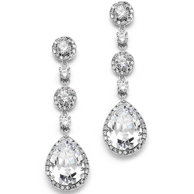 MariellBest-Selling Pear-Shaped Drop Bridal Earrings with Pave CZ - Clip