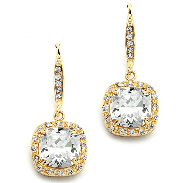 Mariell Magnificent Cushion Cut Cubic Zirconia Wedding Or Pageant Earrings in 14K Gold