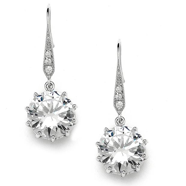Mariell Bridal, Prom Or Bridesmaids Bling CZ Drop Earrings