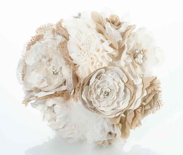 Lillian Rose Burlap and Flower Bouquet