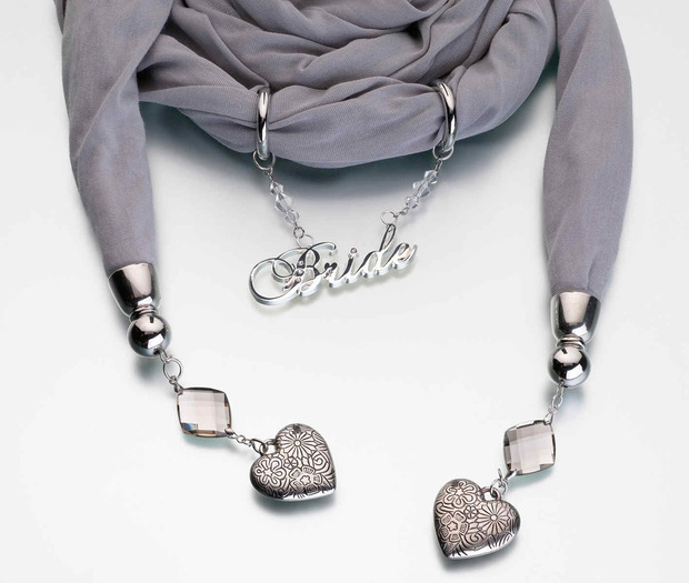 Lillian Rose Bride Scarf - Grey