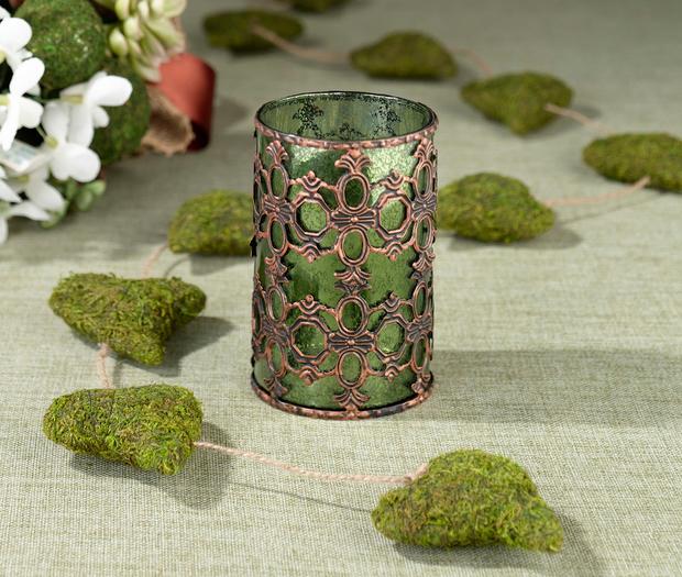Lillian Rose Green Glass Tealight Holder