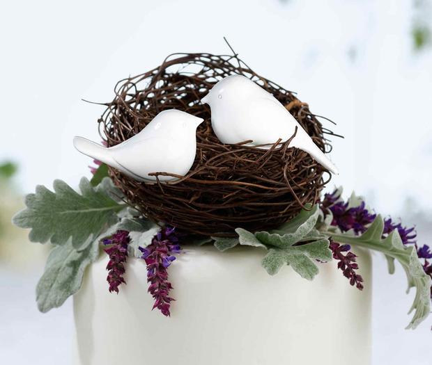Lillian Rose Love Birds Cake Pick: White