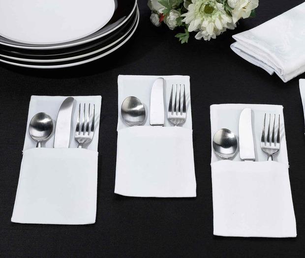 Lillian Rose Set of 4 White Silverware Holders - Blank