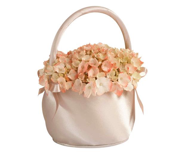 Lillian Rose Satin Flower Basket - Taupe