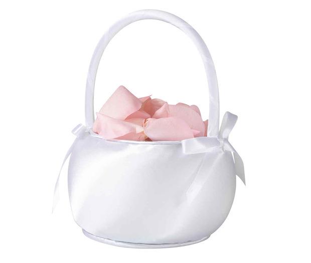 Lillian Rose Satin Flower Basket - Shiny White