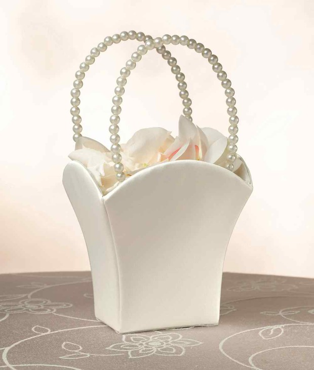 Lillian Rose Plain Satin Flower Basket - Ivory