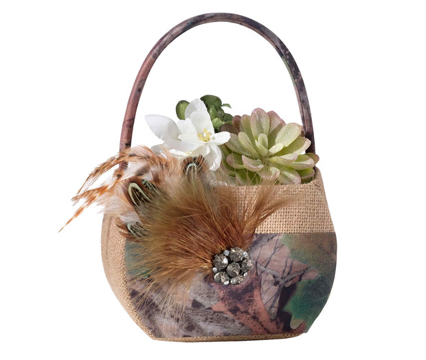 Lillian Rose Camouflage Flower Basket