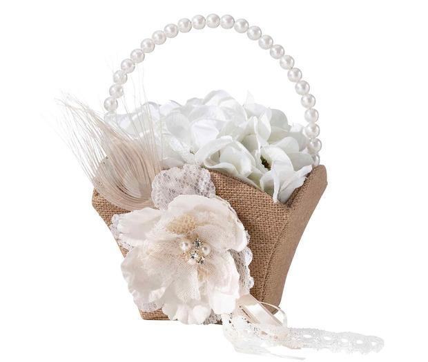Lillian Rose Burlap & Lace Flower Basket