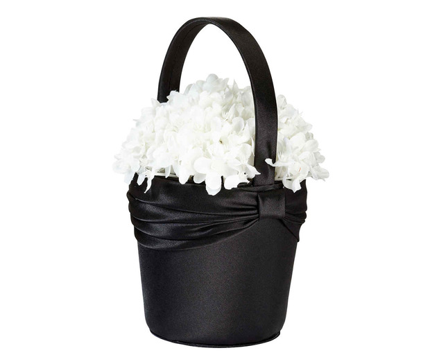 Lillian Rose Satin Sash Flower Basket - Black