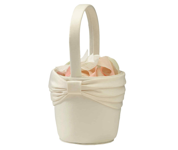 Lillian Rose Satin Sash Flower Basket - Ivory