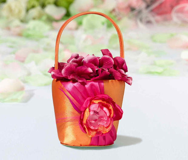 Lillian Rose Hot Pink & Orange Flower Basket