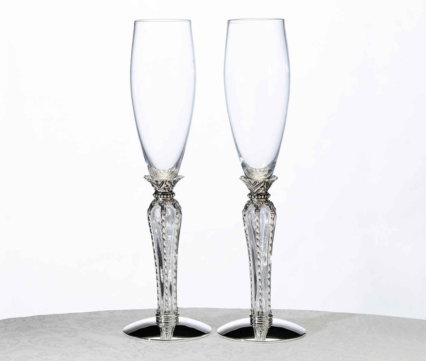 Lillian Rose Crown Champagne Flutes Clear