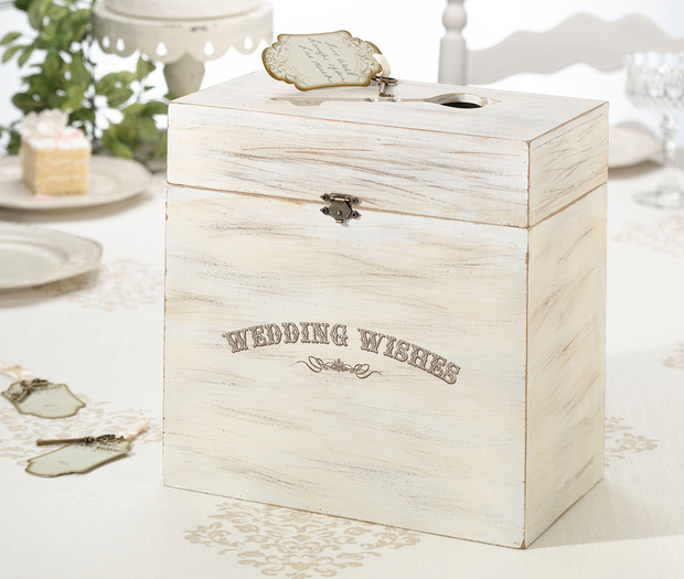 Lillian Rose Wedding Wishes Wooden Key Card Box