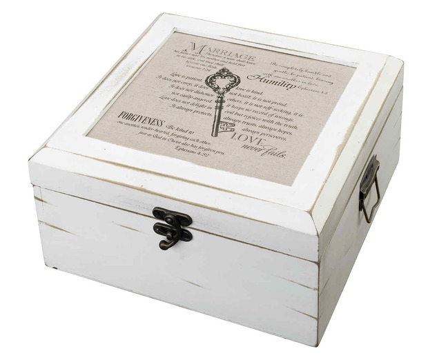 Lillian Rose Antique White Card Box-Christian