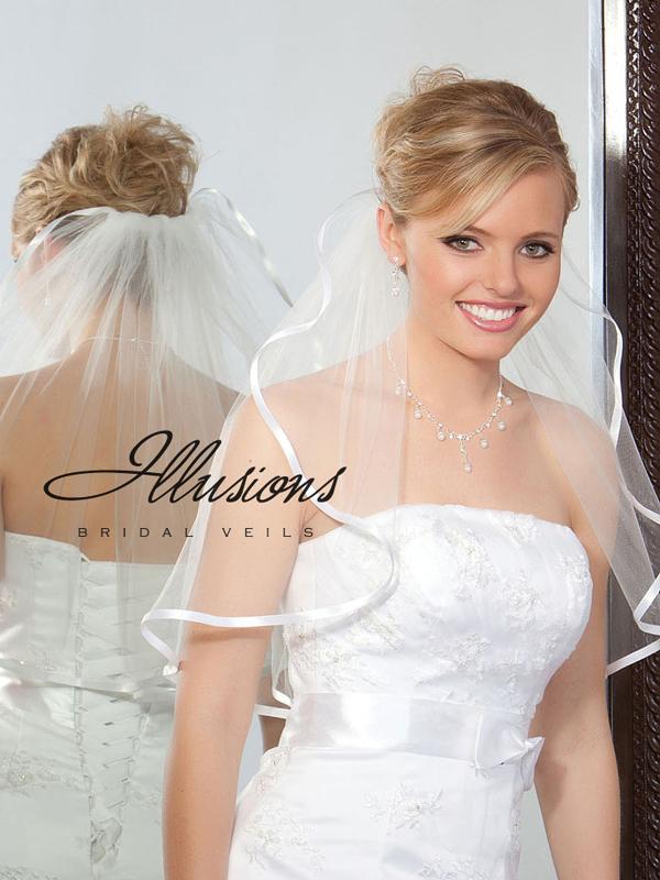 Illusions Bridal Ribbon Edge Veil 1-201-3R: Rhinestone Accent
