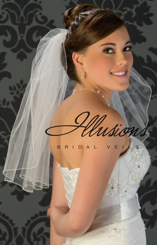 Illusions Bridal Veil 1-201-C: Rhinestone Accent