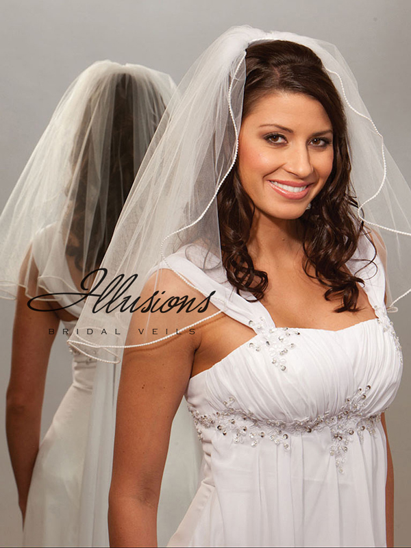 Illusions Bridal Pearl Edge Veil 1-201-P: Rhinestone Accent