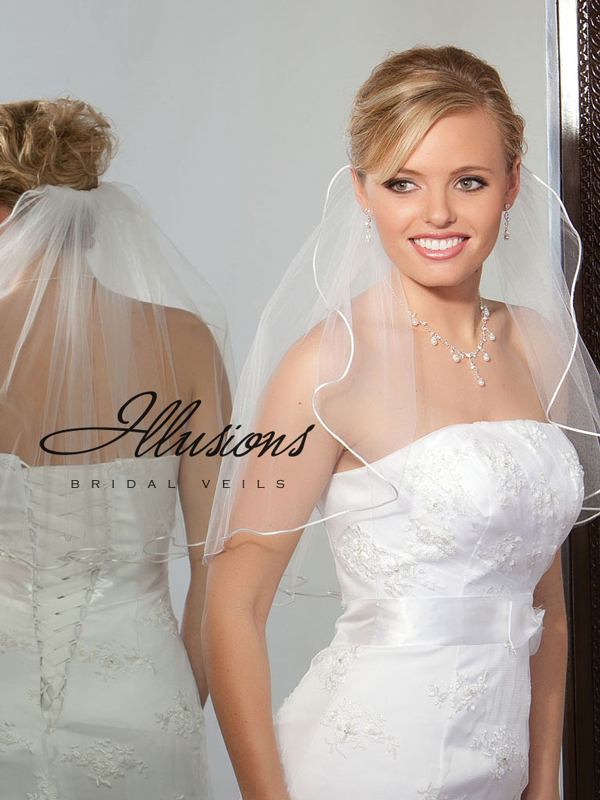 Illusions Bridal Rattail Edge Veil 1-201-RT: Rhinestone Accent