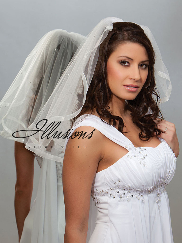 Illusions Bridal Ribbon Edge Veil 1-201-SR-RS: Rhinestone Accent