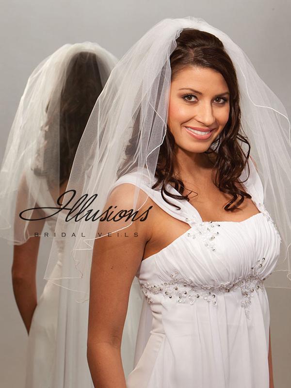 Illusions Bridal Corded Edge Veil 1-251-C: Rhinestone Accent