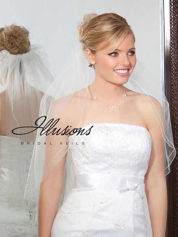 Illusions Bridal Corded Edge Veil 1-251-DC-BB: Rhinestone Accent