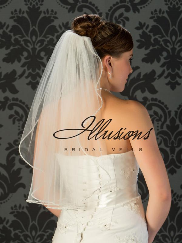 Illusions Bridal Pearl Edge Veil 1-251-PRS: Pearl Accent