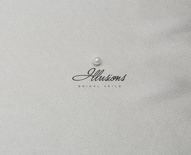 Illusions Bridal Ribbon Edge Veil 1-301-1R: Pearl Accent