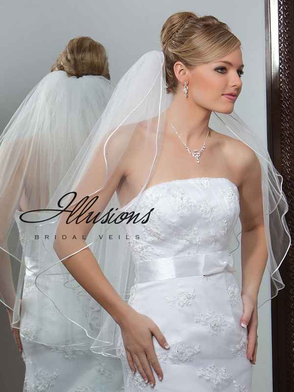 Illusions Bridal Rattail Edge Veil 1-302-RT: Rhinestone Accent