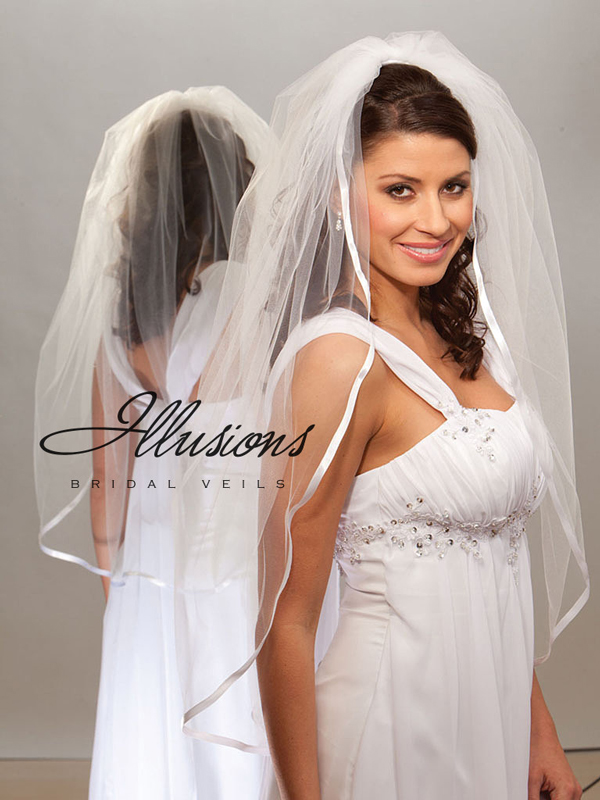Illusions Bridal Ribbon Edge Veil 1-361-3R: Rhinestone Accent