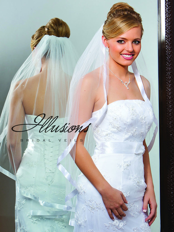 Illusions Bridal Ribbon Edge Veil 1-361-7R-RS: Pearl Accent