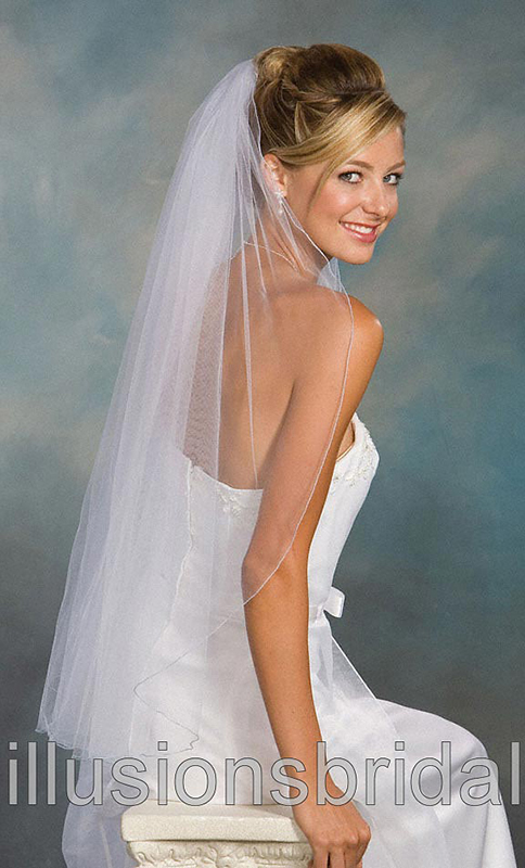 Illusions Bridal Colored Veils and Edges 1-361-C-LB with Light Blue Corded Edge