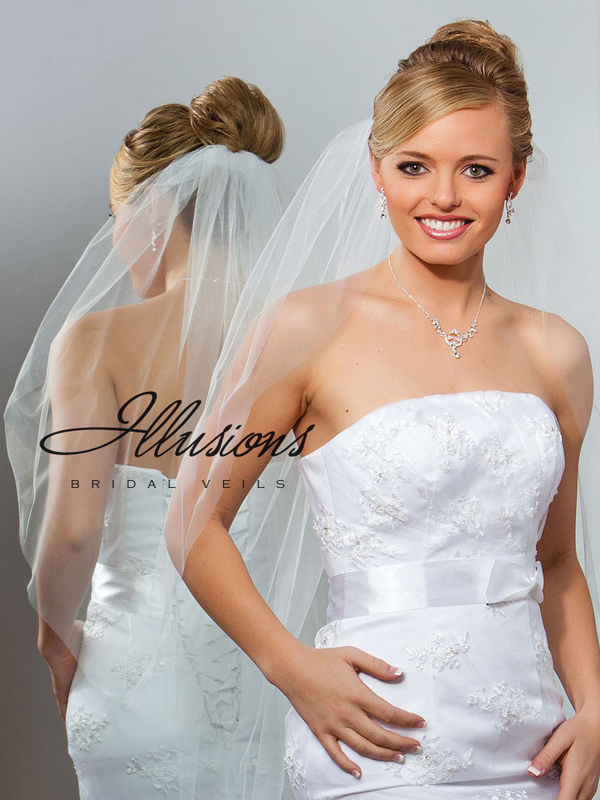 Illusions Bridal Cut Edge Veil 1-361-CT: Pearl Accent