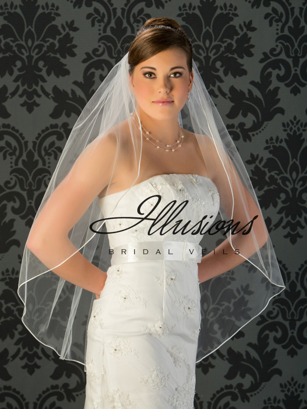 Illusions Bridal Rattail Edge Wedding Veil 1-361-RT: Rhinestone Accent, Fingertip Length