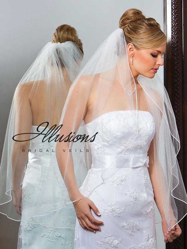 Illusions Bridal Soutache Edge Veil 1-361-ST: Pearl Accent