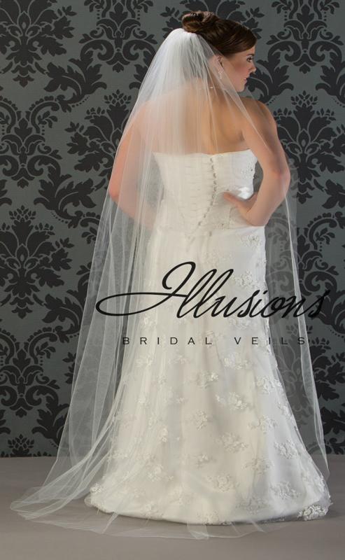 Illusions Bridal Cut Edge Wedding Veil 1-721-CT: Pearl Accent, Floor Length