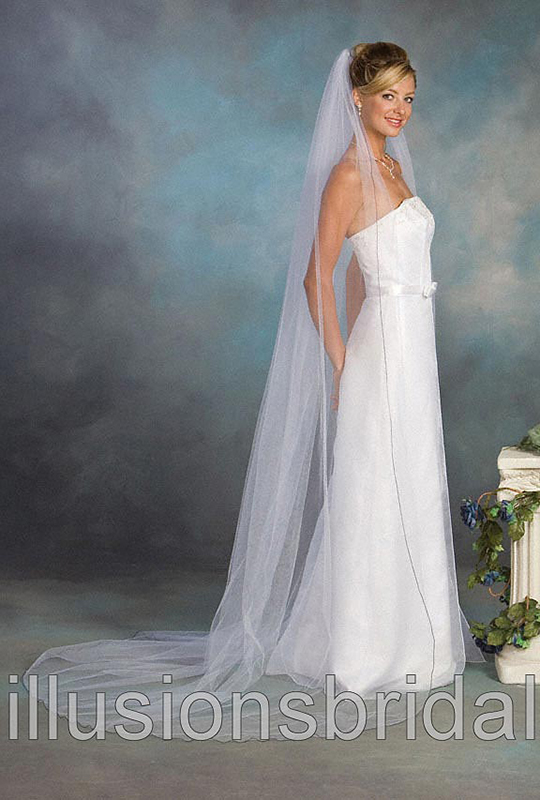 Illusions Bridal Colored Veils and Edges 1-901-C-NB with Navy Blue Corded Edge
