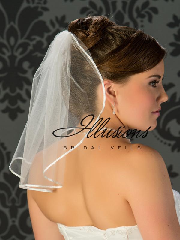 Illusions Bridal Ribbon Edge Wedding Veil 5-151-1R: flyaway