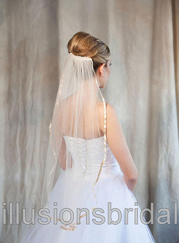 Illusions Bridal Colored Veils and Edges 5-301-3R-BG-BG: Beige