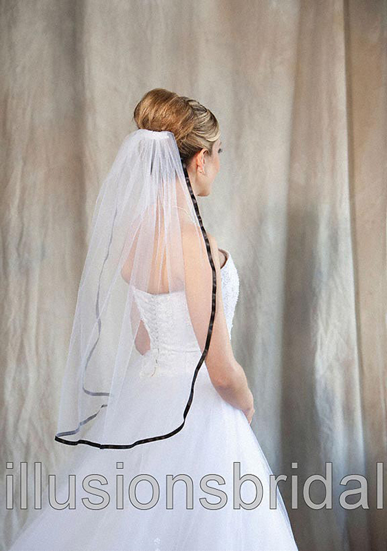 Illusions Bridal Colored Veils and Edges 5-301-3R-BK with Black Ribbon Edge