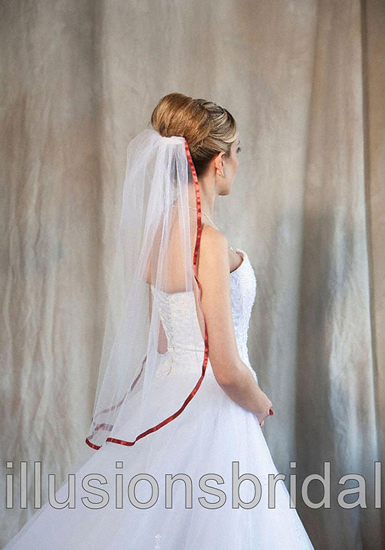 Illusions Bridal Colored Veils and Edges 5-301-3R-BT with Burnt Orange Ribbon Edge